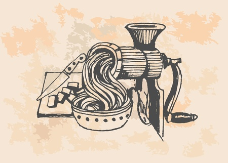 Iron Meat Grinder, retro illustration Vector