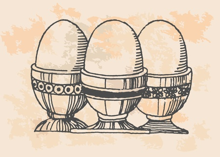 retro eggs in kitchen Vector