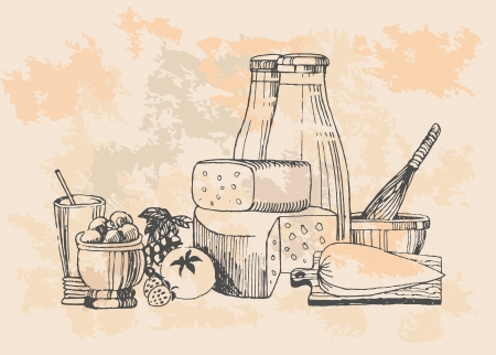 Dairy products set  Vector