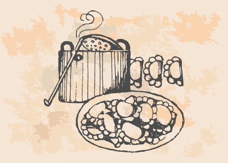 retro dumplings ilustration Illustration