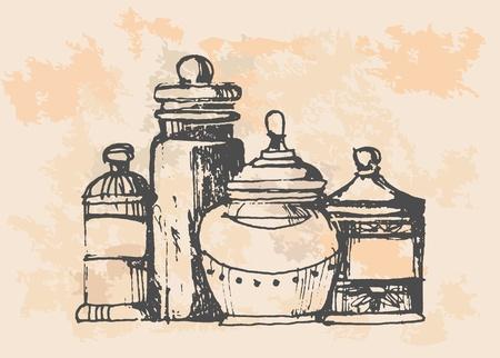 siphon: Retro spices set  Illustration