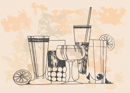 lounges: retro drinks and cocktails Illustration