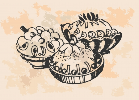 Set of cakes  Hand drawn illustrations  Vector