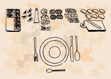 retro kitchen set  Vector