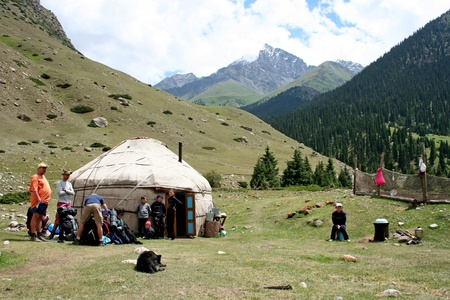 nomadic: Yurt camp in central Asia