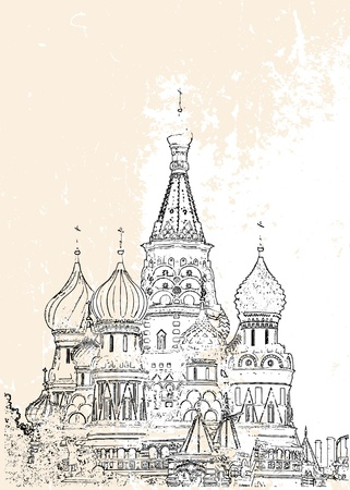 red square moscow: St Basil vector illustration