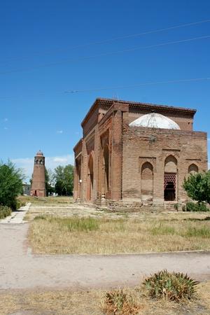 minaret: Minaret in Uzgen, Kyrgyzstan Stock Photo