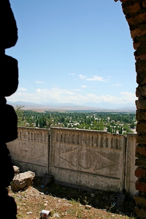 kyrgyzstan: Minarete en Uzgen, Kirguist�n