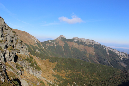 Giewont - Famous mountain in Polish Tatras with a cross on top  photo