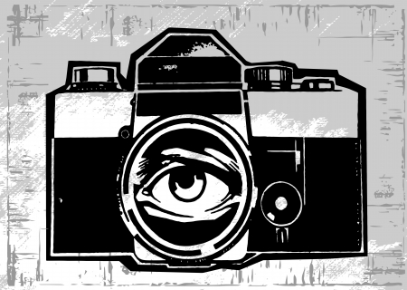 vintage old photo camera drawn vector llustration  Vector
