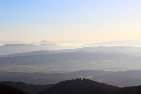 View from Babia Gora, Beskidy, Poland photo