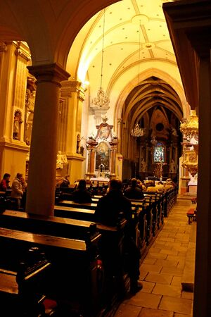 christian altar: The interior of gothic chapel of st. John the Evangelist, Slovakia Editorial