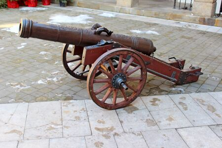 cannon gun: Historic cannon at the msuem of Niepolomice, Poland Editorial