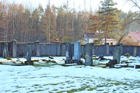 graves: Old graves at historic Jewish cemetery  in Niepolomice, Poland