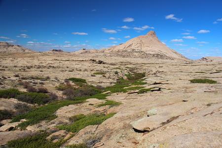 ata: Desert mountains Bektau-Ata, Kazakhstan Stock Photo