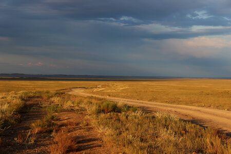 kazakhstan: Road in Steppe, Kazakhstan Stock Photo