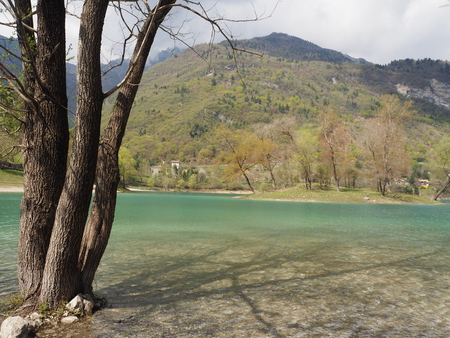 Lago di Tenno, small lake near Garda lake, Italy