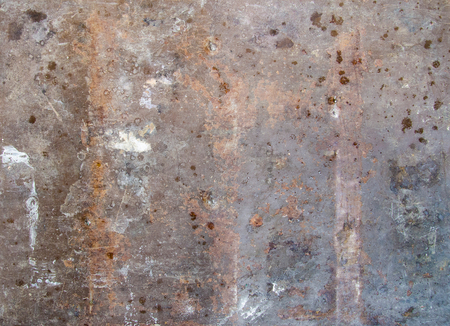 Badly aged and ruined metal sheet plate