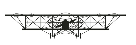 an old World War One biplane silhouette facing you Vector