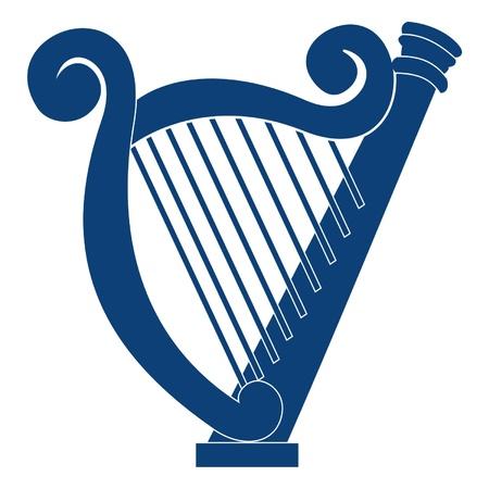 arpa: azul estilizado arpa Vectores