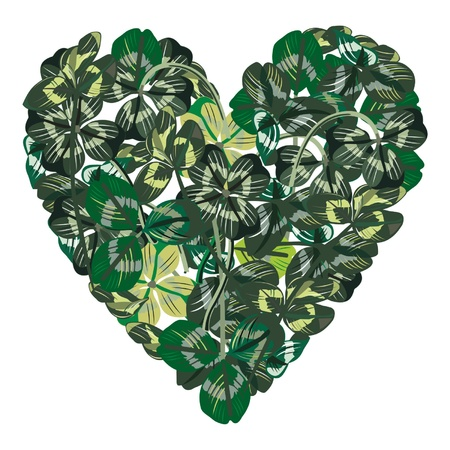 greenness: Heart made of clover leaves Illustration