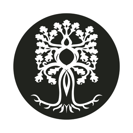 scary oak tree in a roundel Stock Vector - 17273548