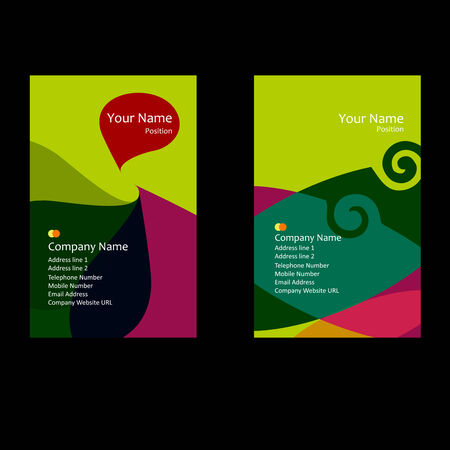 green theme business card Vector