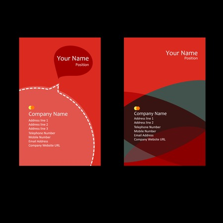 red theme business card Vector