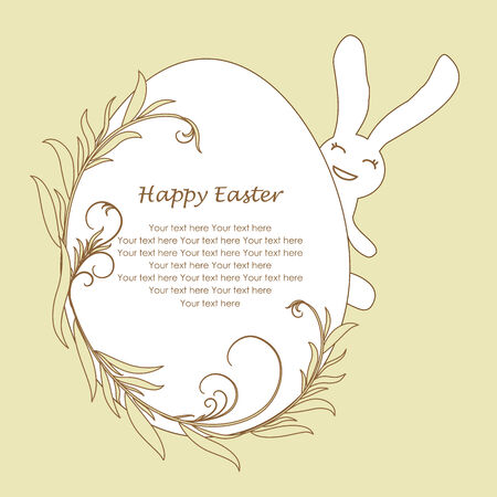 easter egg with cute smiling bunny. greeting card Vector