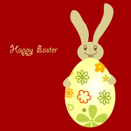 easter egg with cute smile bunny for greeting. Vector