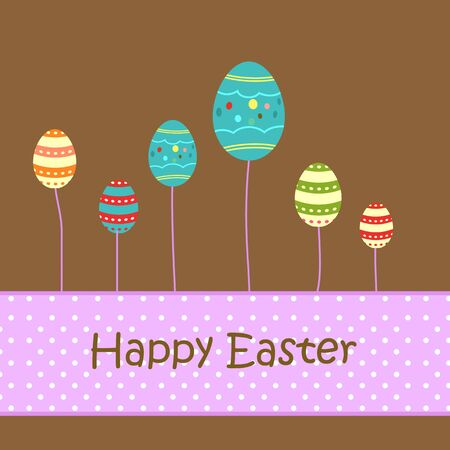 Easter greeting card with decorative eggs Illustration