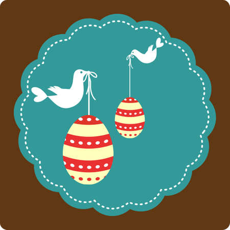 Easter greeting card with decorative eggs and bird Vector