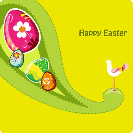 Cute easter greeting card. Vector