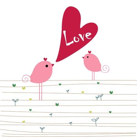 Love birds - valentines or wedding. vector