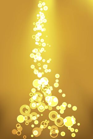 abstract background with bubbles descending on golden light background