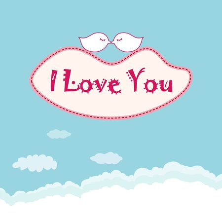Birds are kissing on the cloud  with lips shape Vector