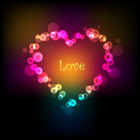 Colorful light bokeh vector Valentines background