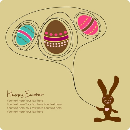 Easter greeting card with cute cartoon bunny Illustration