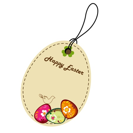 chocolate egg: Label with Decorative Easter Eggs. greeting card. Illustration