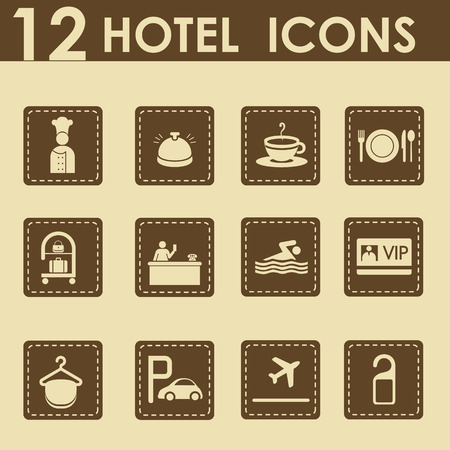 Hotel icons set in retro stijl - reizen pictogrammen