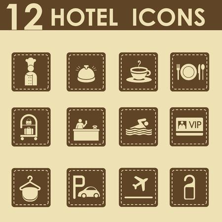vip symbol: Iconos de hotel en estilo retro - iconos de viajes