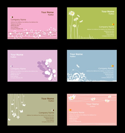 feminine background: Various business cards Illustration