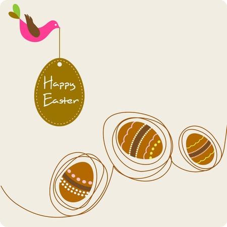 pasch: Biglietto di auguri di Pasqua con le uova decorative e uccelli Vettoriali