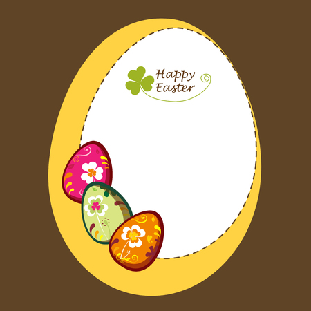 brown egg: Decorative easter eggs. greeting card.