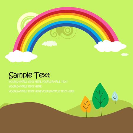 arcoiris caricatura: Fondo jard�n de naturaleza - paisaje