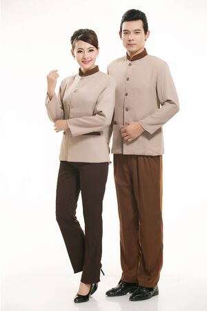 domestic task: Housekeepers standing on white background
