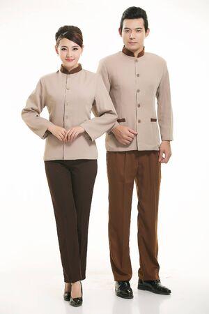 uniforme: Amas de casa de pie sobre fondo blanco