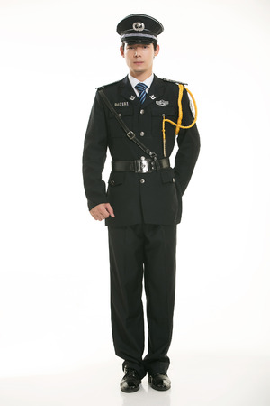 Security guard standing on white background photo