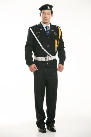 police uniform: Security guard standing on white background