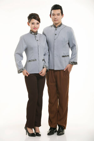 domestic task: Asian housekeepers standing on white background